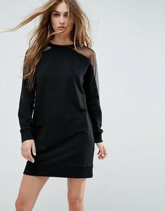 Платье-свитшот с сетчатыми рукавами ASOS - Черный