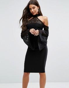 Платье миди с высоким воротом, кружевом и пышными рукавами Vesper - Черный