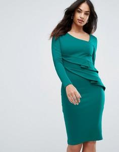 Платье-футляр с длинными рукавами и оборками City Goddess - Зеленый