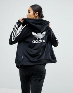 Худи черного цвета узкого кроя на молнии adidas Originals - Черный