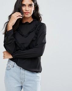Блузка с оборкой Only Tamita - Черный
