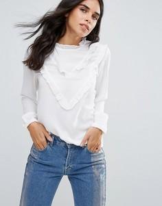 Блузка с оборкой Only Tamita - Белый