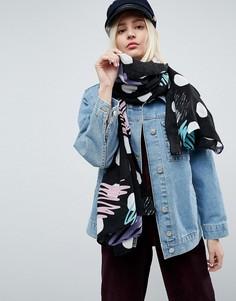 Легкий шарф в горошек ASOS - Черный
