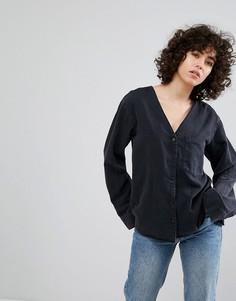 Джинсовая рубашка без воротника Weekday - Черный