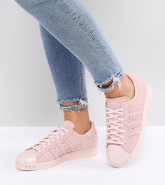 Розовые кроссовки с отделкой металлик на носке adidas Originals Superstar 80S - Розовый