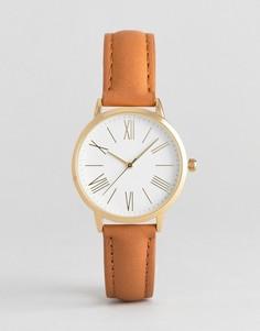 Классические часы со светло-коричневым кожаным ремешком ASOS - Рыжий