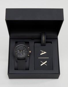 Часы и багажная бирка в подарочном наборе Armani Exchange AX7105 - Черный