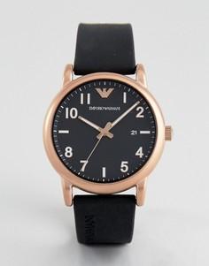 Черные часы с силиконовым ремешком Emporio Armani AR11097 - Черный