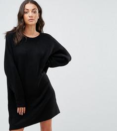 Вязаное платье с круглым вырезом из пушистой пряжи ASOS TALL - Черный
