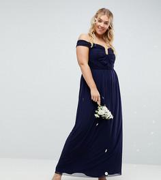 Платье макси со сборками ASOS CURVE WEDDING - Темно-синий