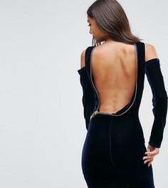Облегающее бархатное платье мини ASOS TALL - Синий