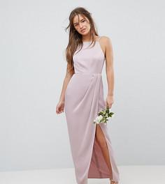Платье макси на бретельках с драпировкой ASOS PETITE - Розовый