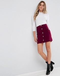 Мини-юбка с пуговицами из искусственного жемчуга ASOS - Фиолетовый