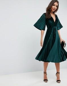 Бархатное платье-кимоно миди с плиссировкой ASOS - Зеленый