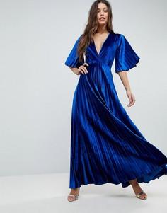 Бархатное платье-кимоно макси с плиссировкой ASOS - Синий