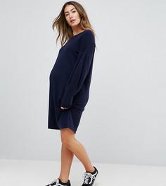 Трикотажное платье-джемпер с объемными рукавами ASOS Maternity - Темно-синий