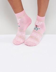 Новогодние носки ASOS Meet Me Under the Mistletoe - Розовый