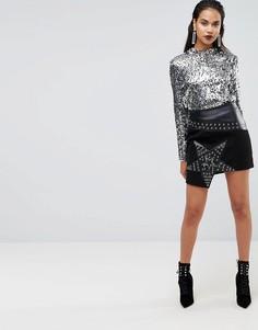Асимметричная юбка с заклепками-звездами Boohoo Premium - Черный