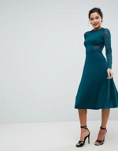 Приталенное платье миди с кружевными вставками ASOS Premium - Зеленый