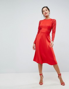 Приталенное платье миди с кружевными вставками ASOS Premium - Красный