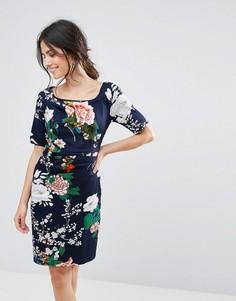 Платье с цветочным принтом и сборками Uttam Boutique - Темно-синий