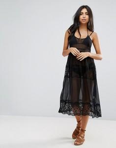 Пляжное платье миди с кружевной отделкой ASOS - Черный