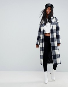 Клетчатое облегающее пальто с карманами ASOS - Мульти
