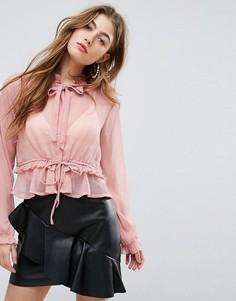 Шифоновая блузка с завязкой Missguided - Розовый