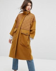 Пальто со стеганой вставкой Max&Co Desideri - Рыжий