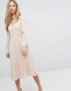 Платье с V-образным вырезом и чокером Max&Co Perlage - Розовый