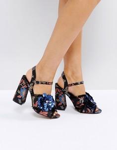 Босоножки на каблуке с цветочной отделкой ASOS HEATHER - Мульти