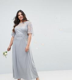 Платье макси с кружевной вставкой и расклешенными рукавами ASOS CURVE Wedding - Серый