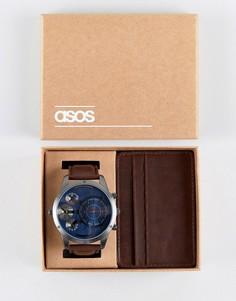 Подарочный набор с часами и визитницей коричневого цвета ASOS - Коричневый