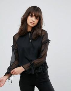 Полупрозрачная блузка с завязками на рукавах Pieces - Черный