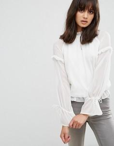 Полупрозрачная блузка с завязками на рукавах Pieces - Белый
