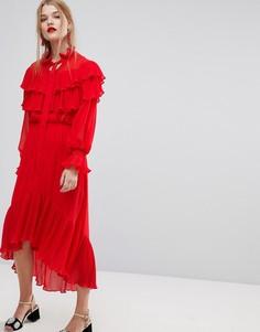 Платье с рюшами Y.A.S - Красный