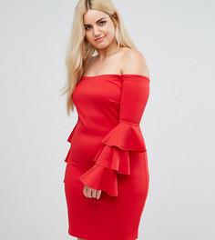 Платье мини с открытыми плечами и ярусными рукавами Club L Plus - Красный