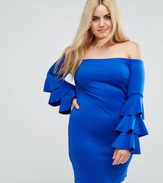 Платье мини с открытыми плечами и ярусными рукавами Club L Plus - Синий