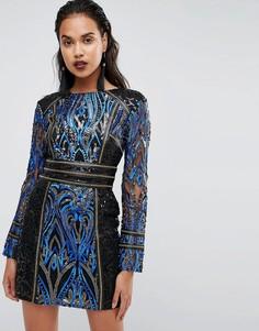 Платье с пайетками и длинными рукавами Boohoo - Черный