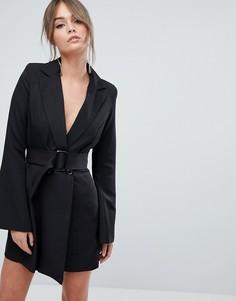 Строгое платье-блейзер с рукавами клеш Boohoo - Черный
