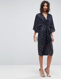 Платье-кимоно миди с пайетками ASOS - Темно-синий