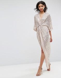 Платье-кимоно макси с отделкой пайетками ASOS - Бежевый