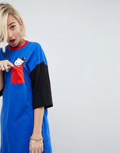 Оверсайз-футболка в стиле колор блок с отделкой Hello Kitty X ASOS - Мульти