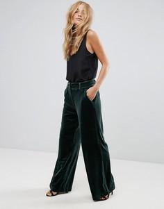 Бархатные брюки с широкими штанинами Vila - Зеленый