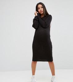 Трикотажное платье металлик в рубчик Supermom Maternity - Коричневый