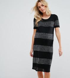 Трикотажное платье миди в полоску с эффектом металлик Supermom Maternity - Черный