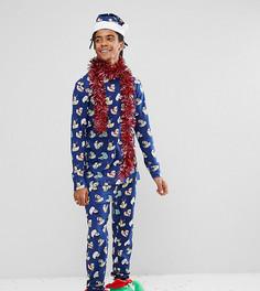 Пижамный комплект с принтом Chelsea Peers Christmas - Темно-синий