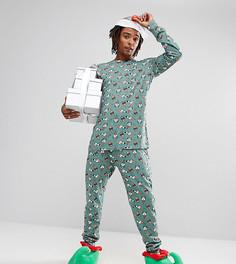 Пижама с новогодним принтом и конусообразной шапкой Chelsea Peers - Зеленый