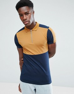 Обтягивающая футболка-поло в стиле колор блок с молнией ASOS - Бежевый