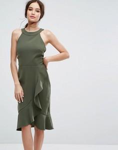 Платье миди с высоким воротом и оборками Paper Dolls - Зеленый